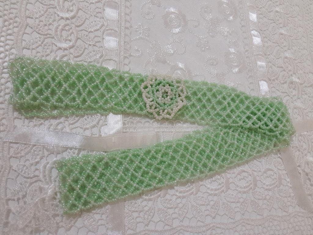 Collana perline verde acqua