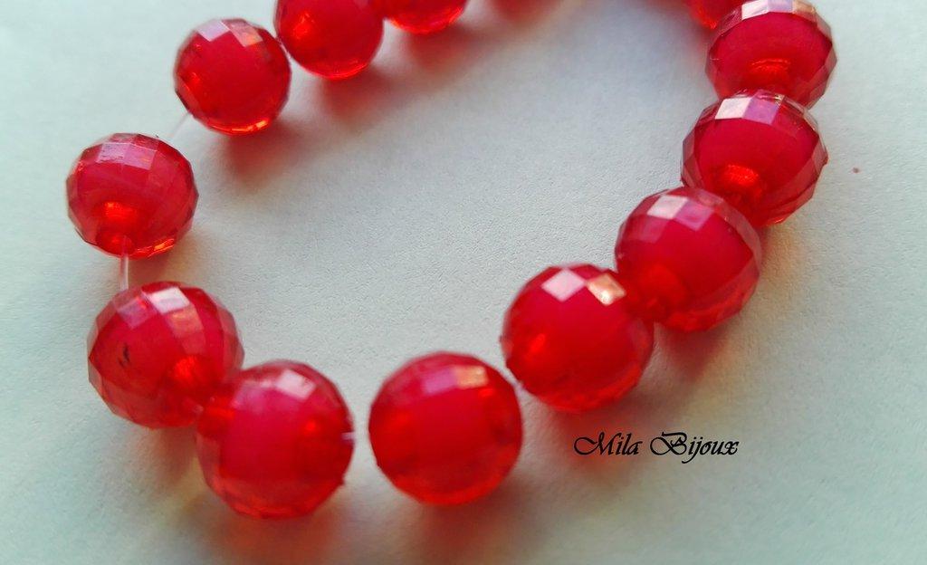 perle rosse sfaccettate 8 mm