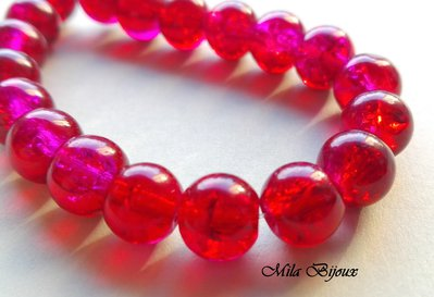 perle rosse crackle 8 mm