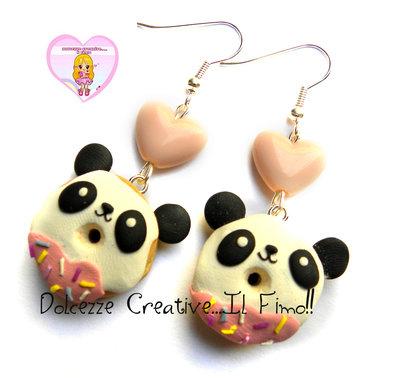 Orecchini ciambelle donut - panda con glassa . pastel goth kawaii
