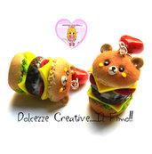 Orecchini Hamburger orsetto - kawaii burger insalata pomodoro miniature fimo