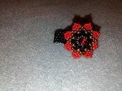 Anello rosso nero oro