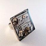 Anello quadrato regolabile  in resina steampunk