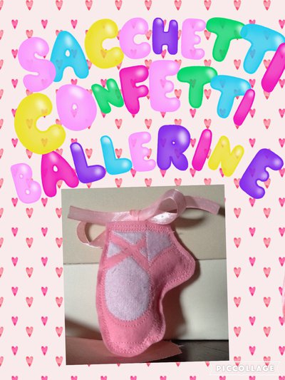 Sacchettini portaconfetti a forma di scarpette ballerina
