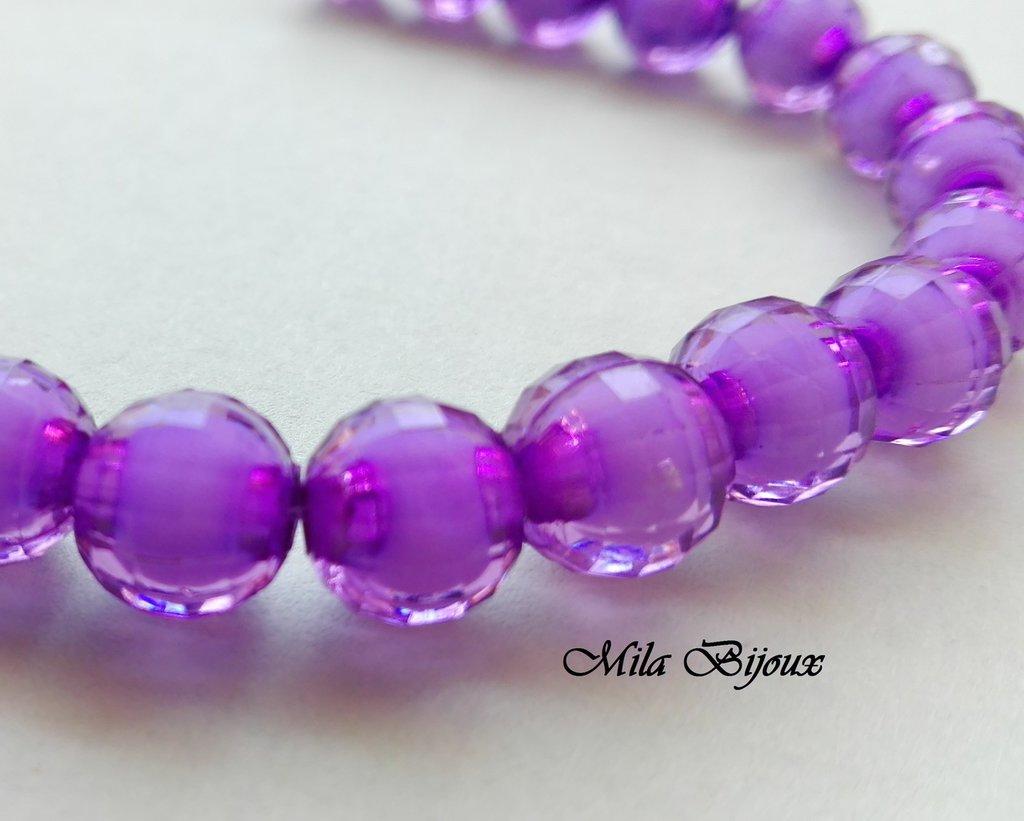 perle viola sfaccettate 8 mm