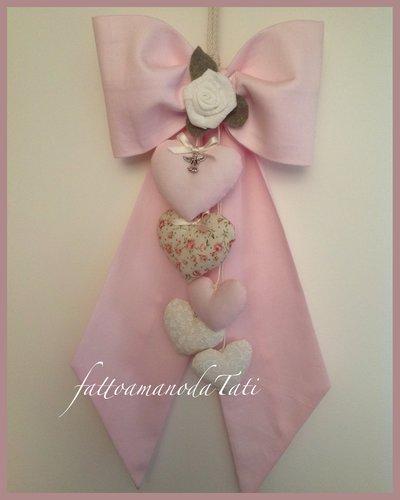 Fiocco nascita in piquet di cotone rosa con rosellina e cuori
