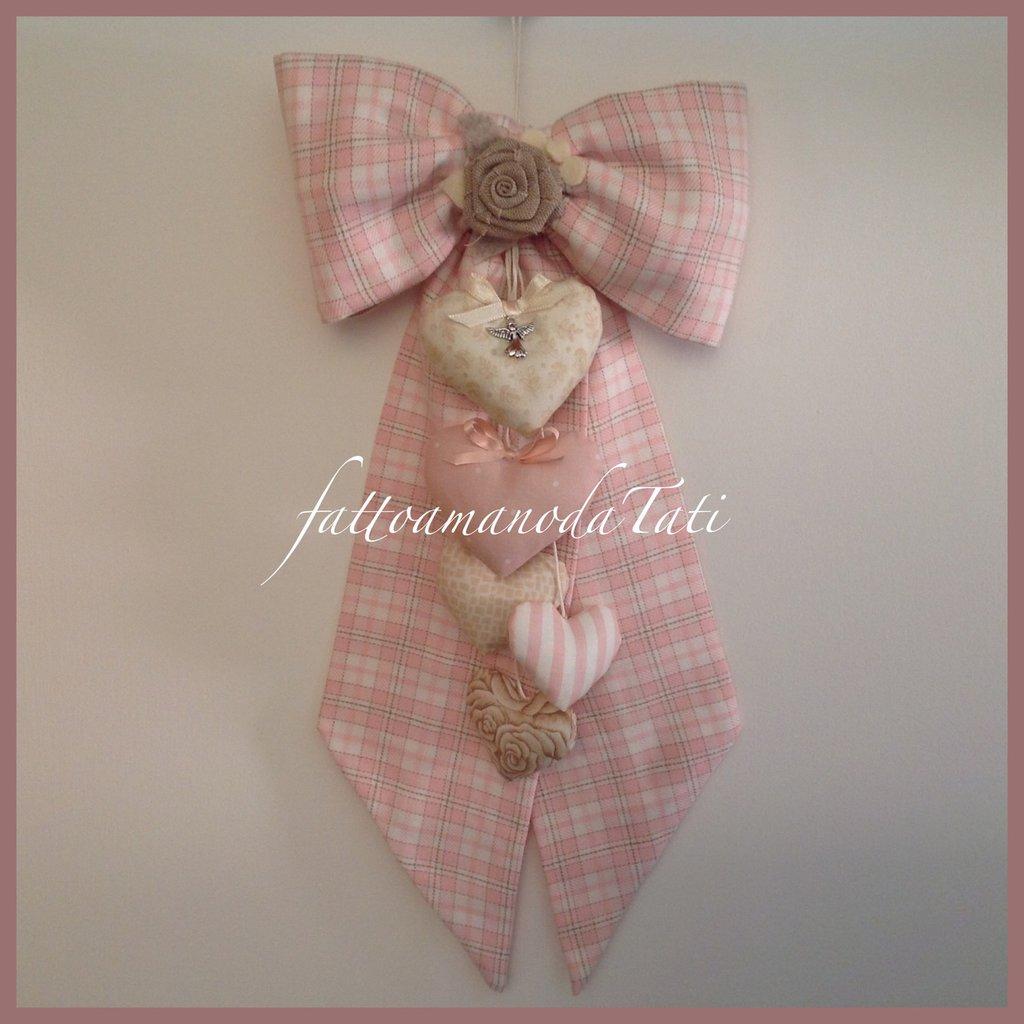 Fiocco nascita in cotone a quadri scozzesi rosa e beige con cuori