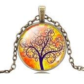 collana cabochon albero della vita vintage buddha yoga chakra new age fashion