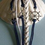 Bracciale multilayer cordino blu e bianco stile marinaro
