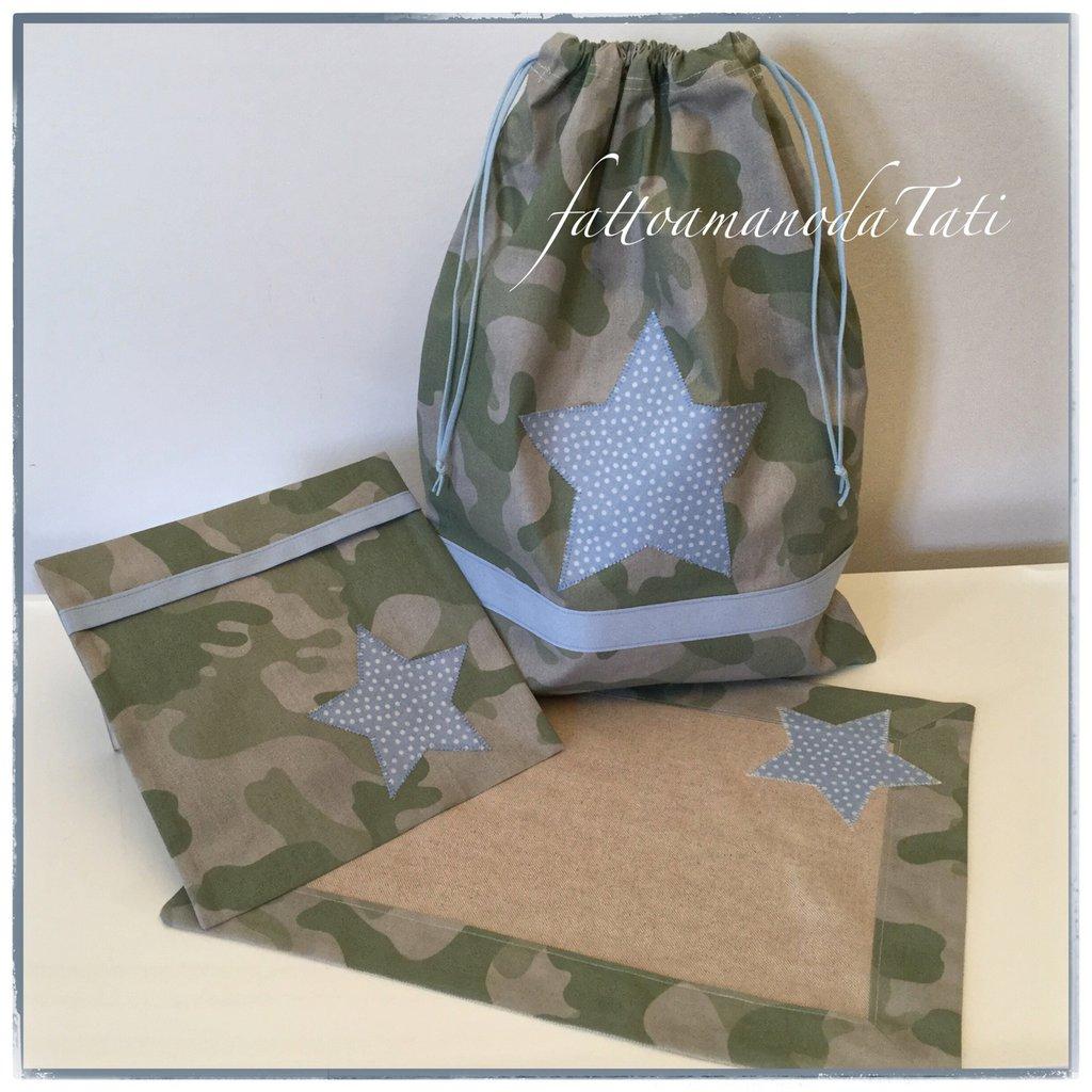 INSERZIONE RISERVATA PER SERENA Sacchetto asilo in cotone camouflage verde con busta e tovaglietta coordinate