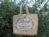 Borsa in tela juta con stampa rose e fodera cotone righine .
