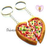 Portachiavi cuore Pizza margherita - handmade idea regalo fidanzati