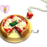 Collana Tagliere rotondo con pizza! Perla a forma di cuore - Pizza margherita- handmade fimo