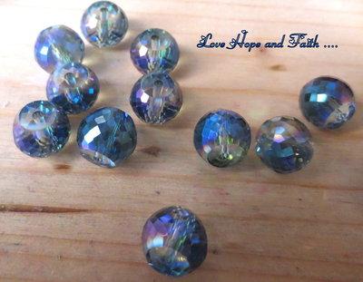 LOTTO 10 perle in vetro sfaccettato (12 mm) (cod 2)