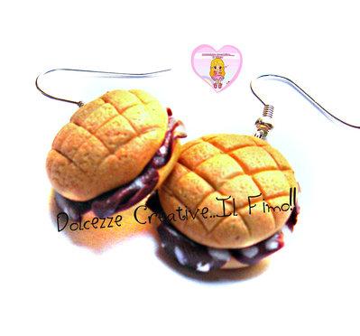 Orecchini panino al salame. Kawaii handmade fimo cernit idea regalo