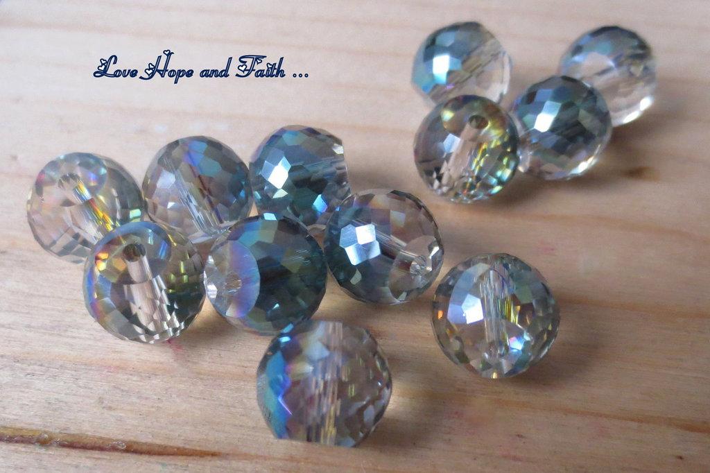 LOTTO 10 perle in vetro sfaccettato (12 mm) (cod 3)