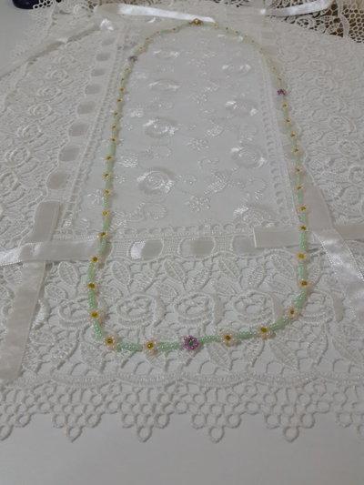 Collana perline fiori