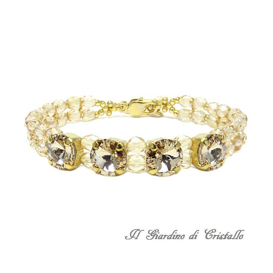 Bracciale con cristalli Swarovski Rivoli Light Silk toni oro champagne fatto a mano - Ibisco