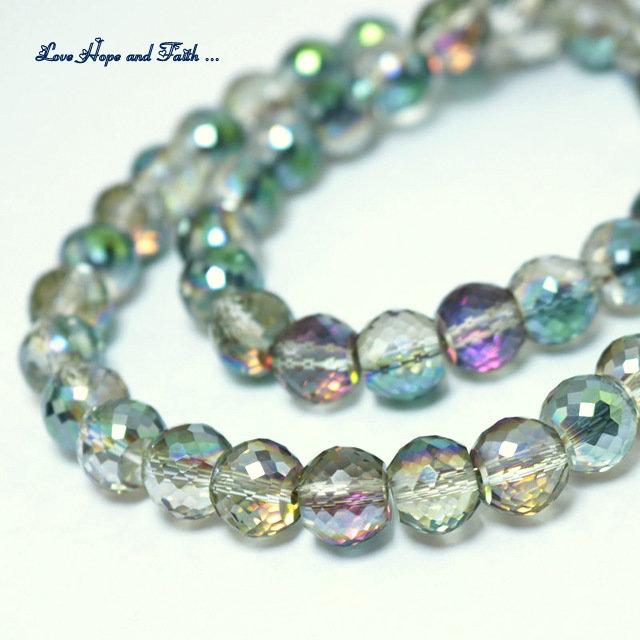 LOTTO 10 perle in vetro sfaccettato (10x8 mm) (cod 4)