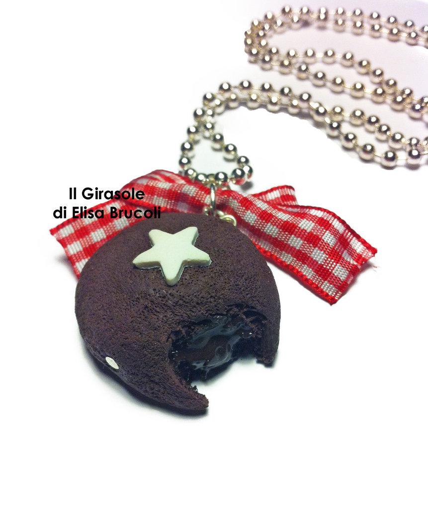 Collana mooncake al cioccolato in pasta polimerica fimo