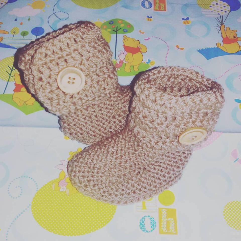 Stivaletti scarpette scarpine tipo Ugg neonato nocciola