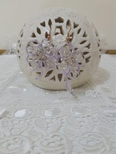 Orecchini perline fiore viola