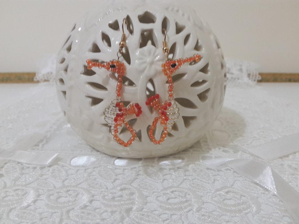 Orecchini perline cavalluccio marino