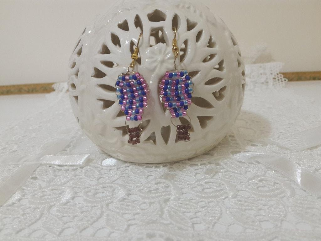 Orecchini perline  mongolfiera