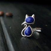 Anello in argento - pietra lapis modello gatto