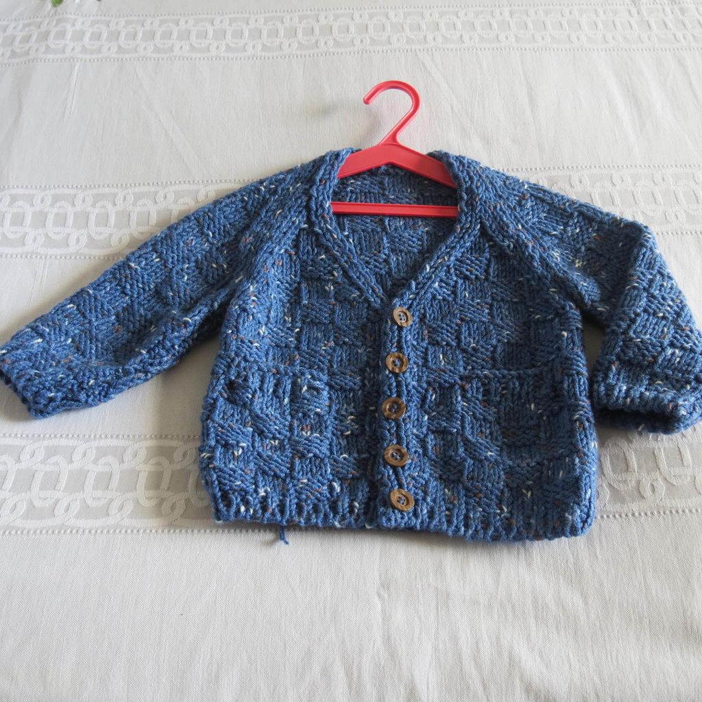 -cardigan bimbo in lana tweed azzurra.