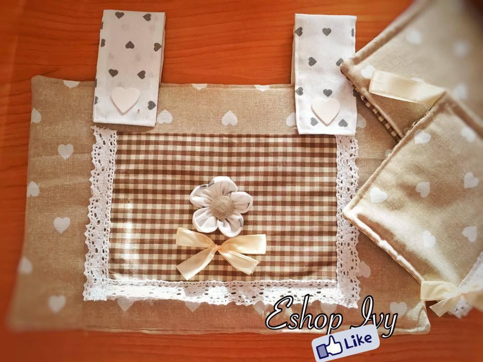 Copriforno idea regalo presine set shabby chic colore beige con cuori copri forno