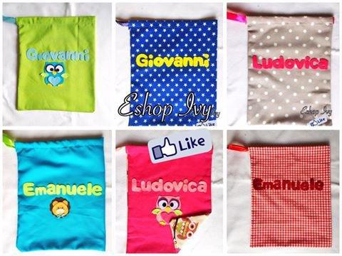 Sacca asilo sacchetto scuola materna personalizzabile con nome bimbo bimba azzurro rosa vari colori