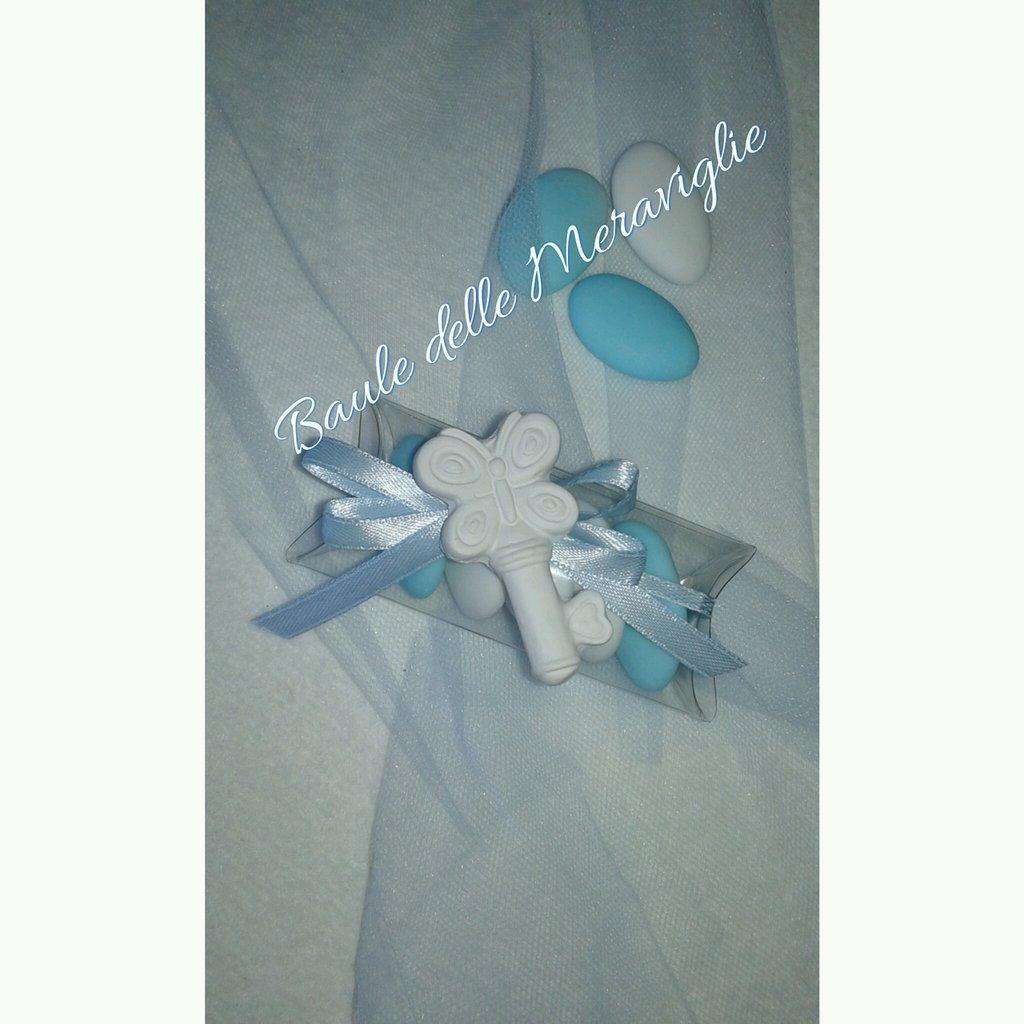 Bomboniera nascita o battesimo bimbo scatolina PVC con gessetto profumato