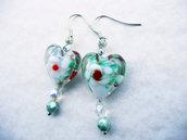 Cuore in vetro di Murano con foglia oro e cristalli/orecchini unici/San Valentino/ idea regalo/fatti a mano