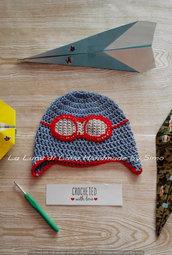 Cappellino neonato o bimbo in cotone, stile aviatore