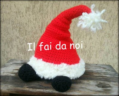 Fermaporta Natale, cappello di Babbo Natale, amigurumi