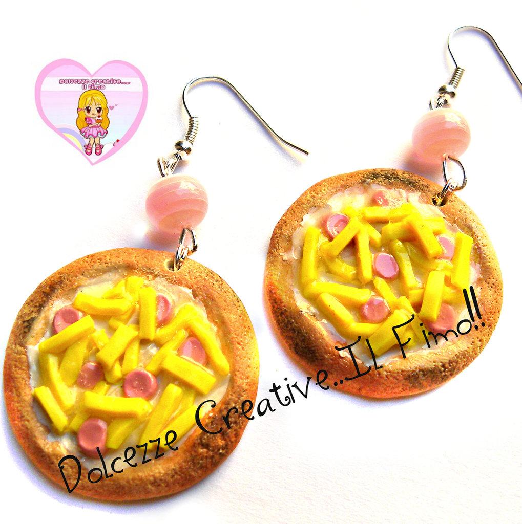 Orecchini pizza Golosa - wurstel e patatine - miniature fimo kawaii handmade