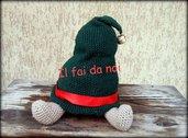 Fermaporta Natale, cappello elfo babbo natale, amigurumi, uncinetto, crochet