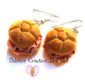 Orecchini Rosette al prosciutto cotto - panino handmade idea regalo