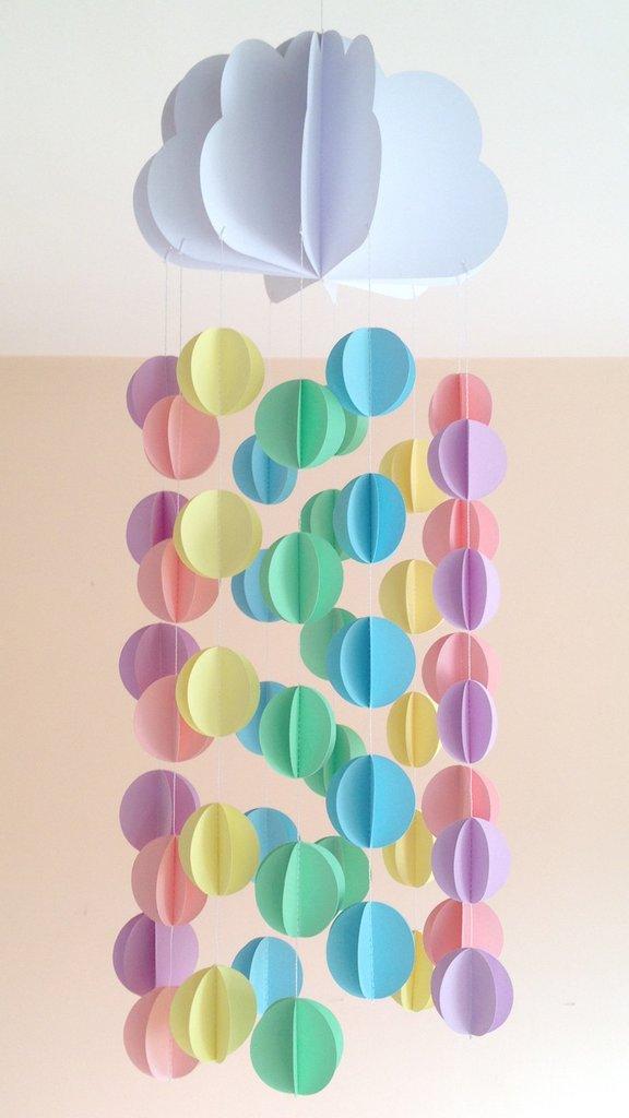 Giostrina per culla, decorazione per cameretta, con nuvola e cerchi pastello, 3D