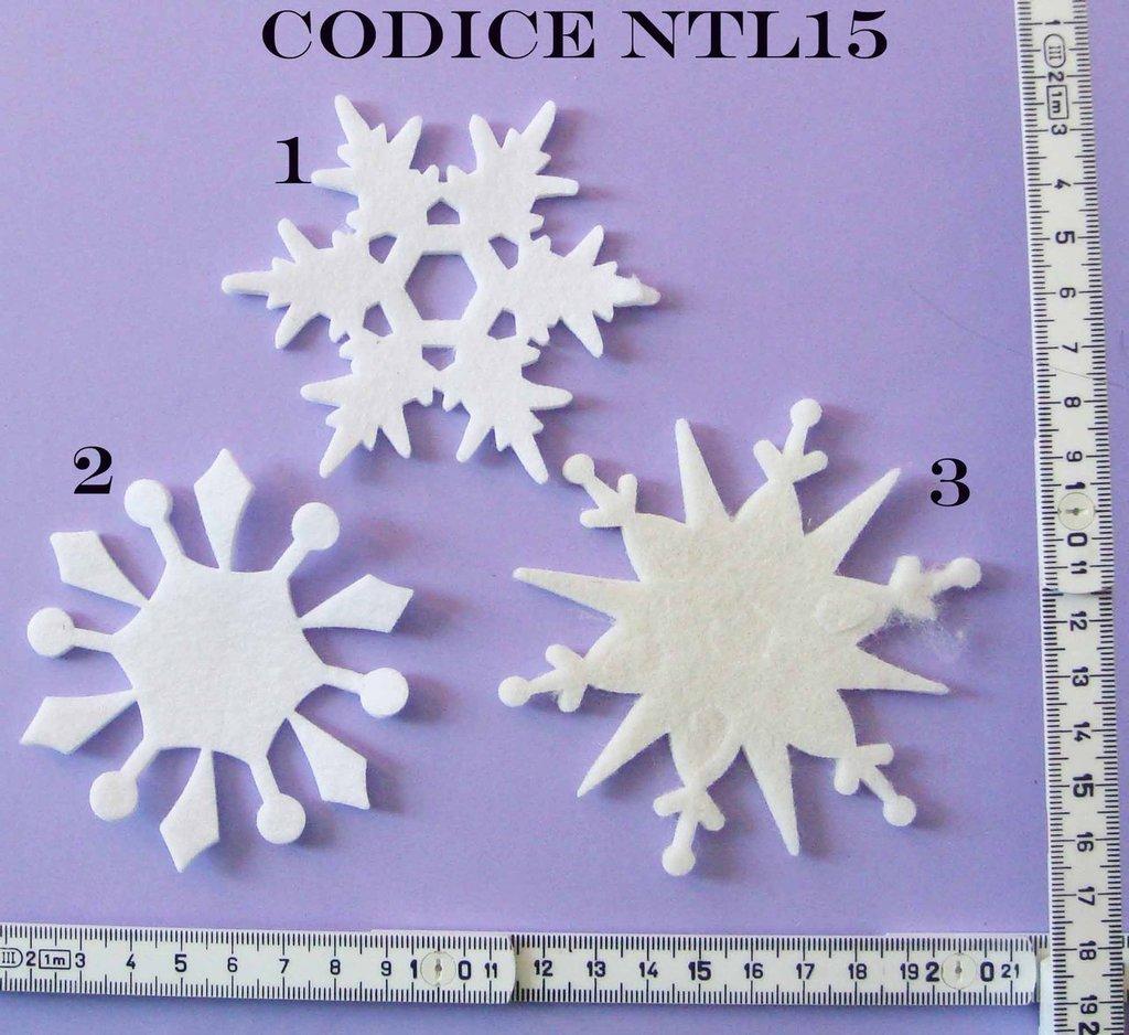 Fustellato Feltro Fiocchi di Neve Grandi NTL15