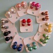 Orecchini doppia perla con pavè