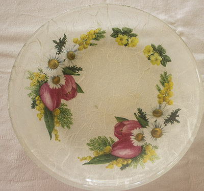 Piatto in vetro Fiori di primavera