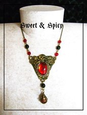 RED PIRATE STEAMPUNK  NECKLACE-COLLANA PIRATA CON TESCHIO E CABOCHON ROSSO IN RESINA
