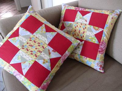 Fodere cuscini patchwork rosse