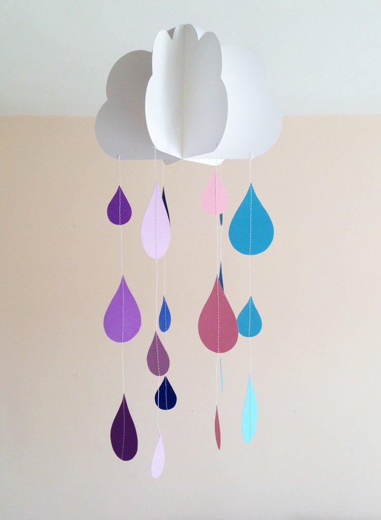 Giostrina per culla, decorazione per cameretta, con nuvola e gocce, 3D
