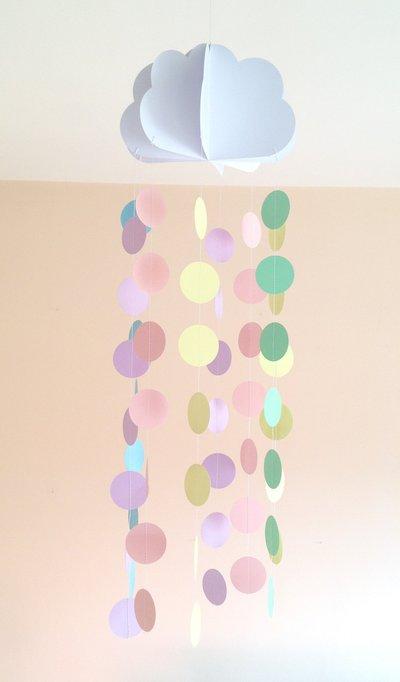 Giostrina per culla, decorazione per cameretta, con nuvola e cerchi pastello