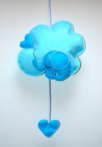 Fiocco nascita a forma di nuvola con elefantino azzurro