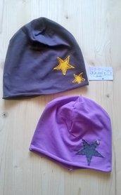 berrettina handmade, felpa garzata, tonalità rosa, viola melanzana e lilla