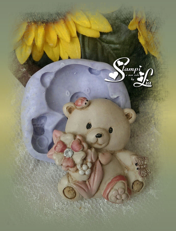 Stampo *Orsetto con fiori,coccinella e farfalla*